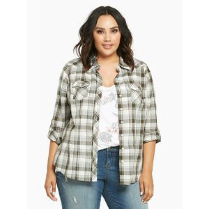 Torrid Plaid Camp Shirt Roll Tab Sleeve Gray White